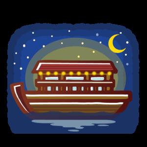 舟で夕涼み